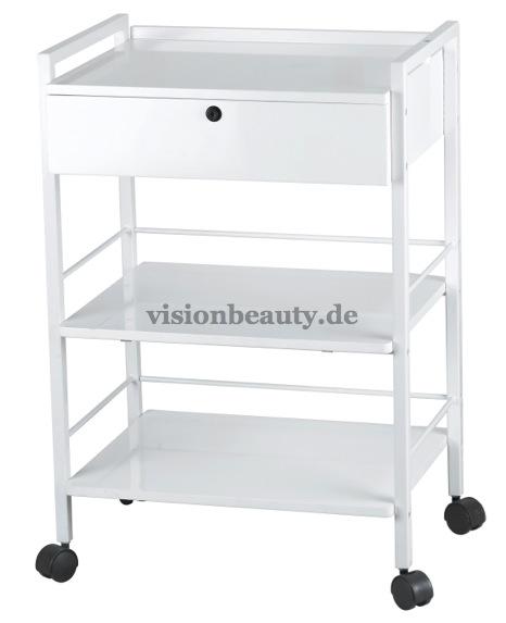 1019A Kosmetikwagen mit metallischem weißem Rahmen
